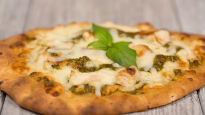 Chicken Pesto Naan Bread Pizza Made with Prego Basil Pesto